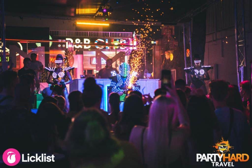 Performers on stage with Spark Grinder effects at R&B Club Magaluf