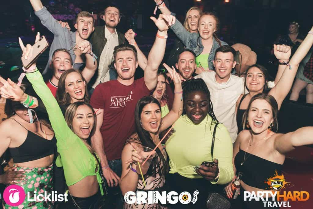 Lads and girls including Nathan Cable Cheering at Gringos Club in Magaluf