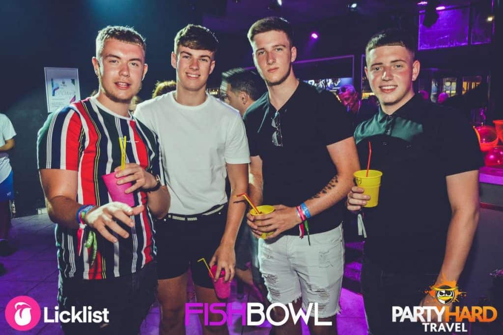 Four Lads looking Cool Ready to Party The Night Away at the Top Club in Zante