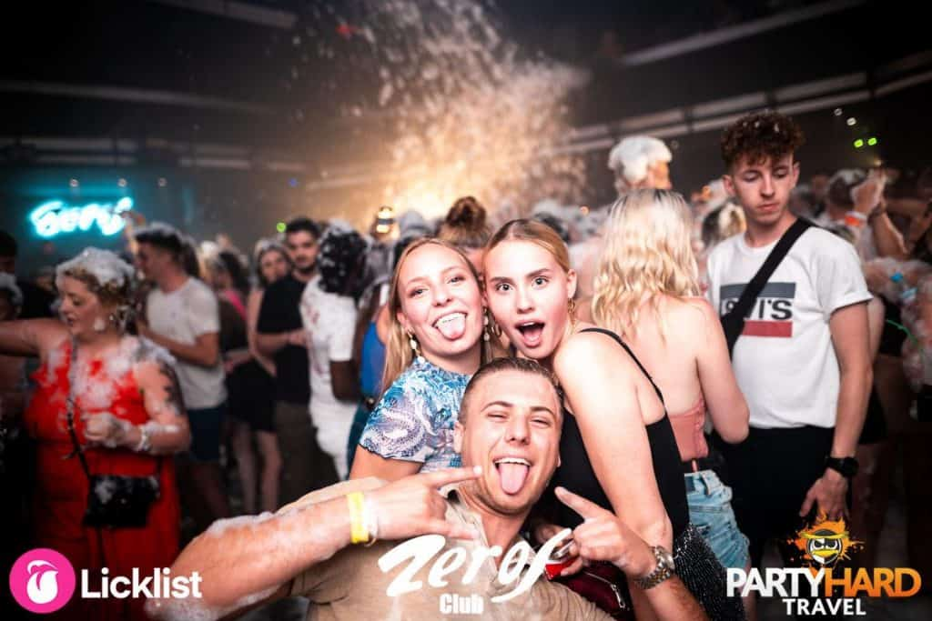 Lads and girls pose for photo at the Zeros club Foam Party
