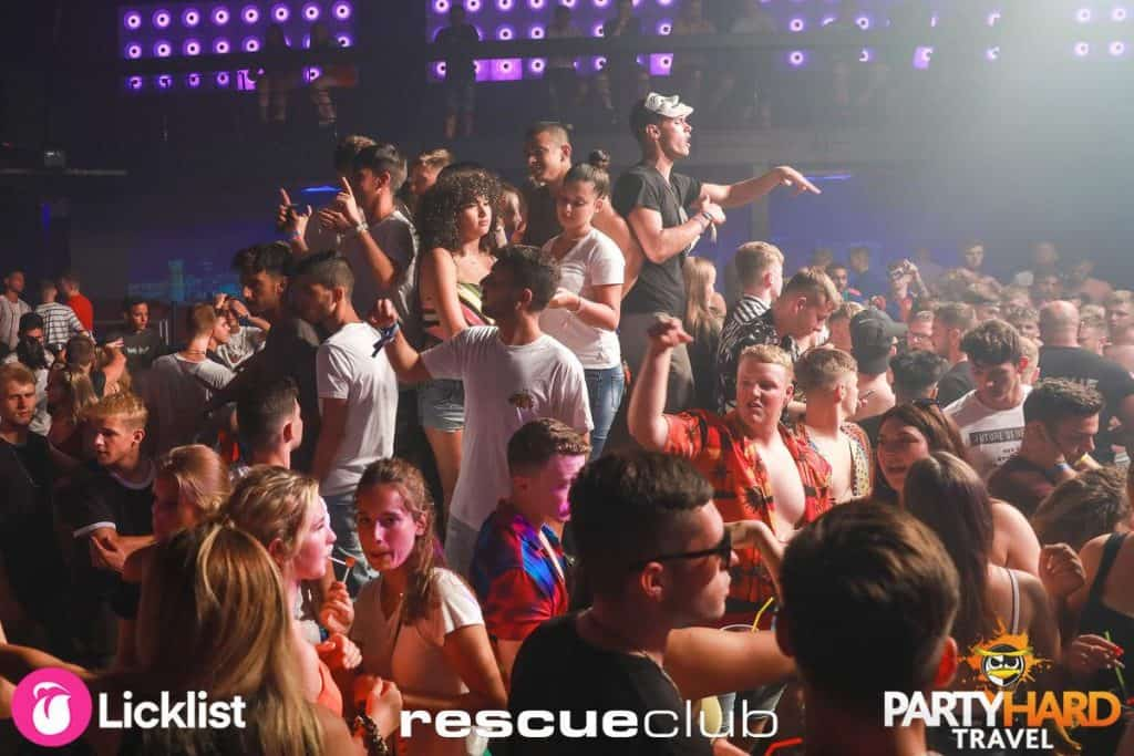 Girls and Lads Party on the Dance Floor at Zante's Rescue Club in Laganas