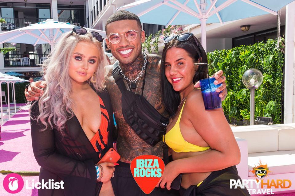 Tattooed Celebrity Ibiza Weekender star Callum Izzard at Ibiza Rocks with two Girlfriends
