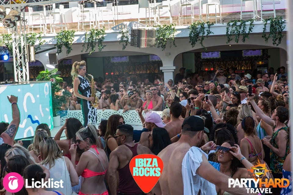 Female Saxophonist on stage event at Ibiza Rocks Hotel