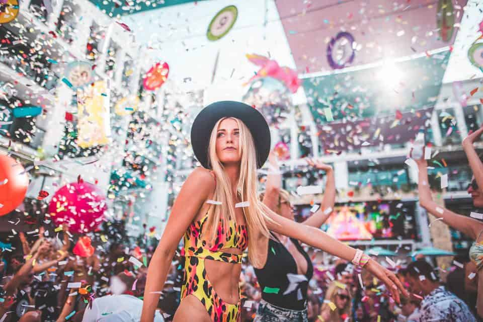 Girls dancing the night away as confetti and balloons fall at Ibiza Rocks Event