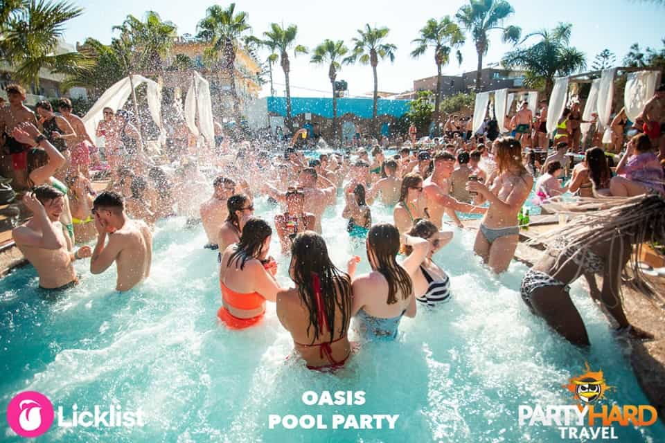 Water Cannons Spraying the Partygoers at the Oasis Pool Party