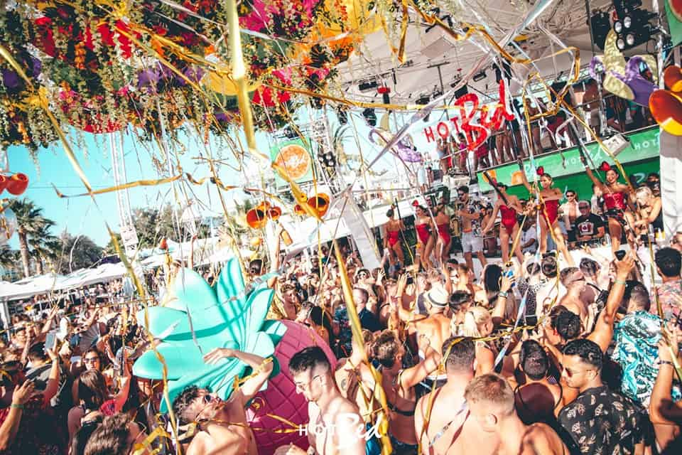 Paper streamers drop at the Hot Bed O Beach Party in Ibiza