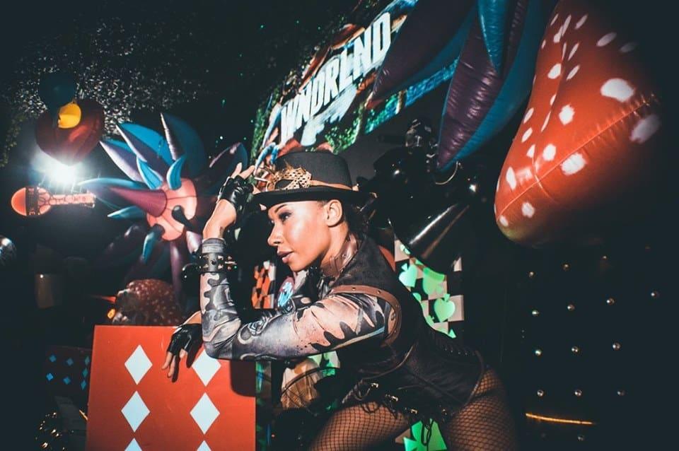 Female WNDRLND performer on stage at Eden Event, Ibiza
