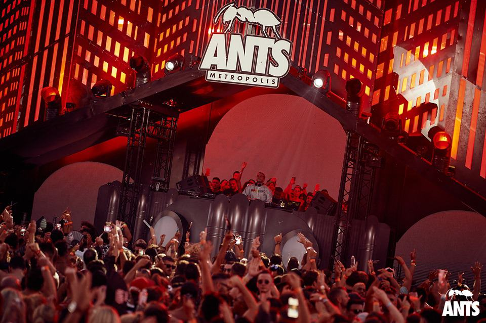 Dj on the main stage at Ibiza Ants Metropolis event at Ushuaïa party hotel Playa d'en Bossa