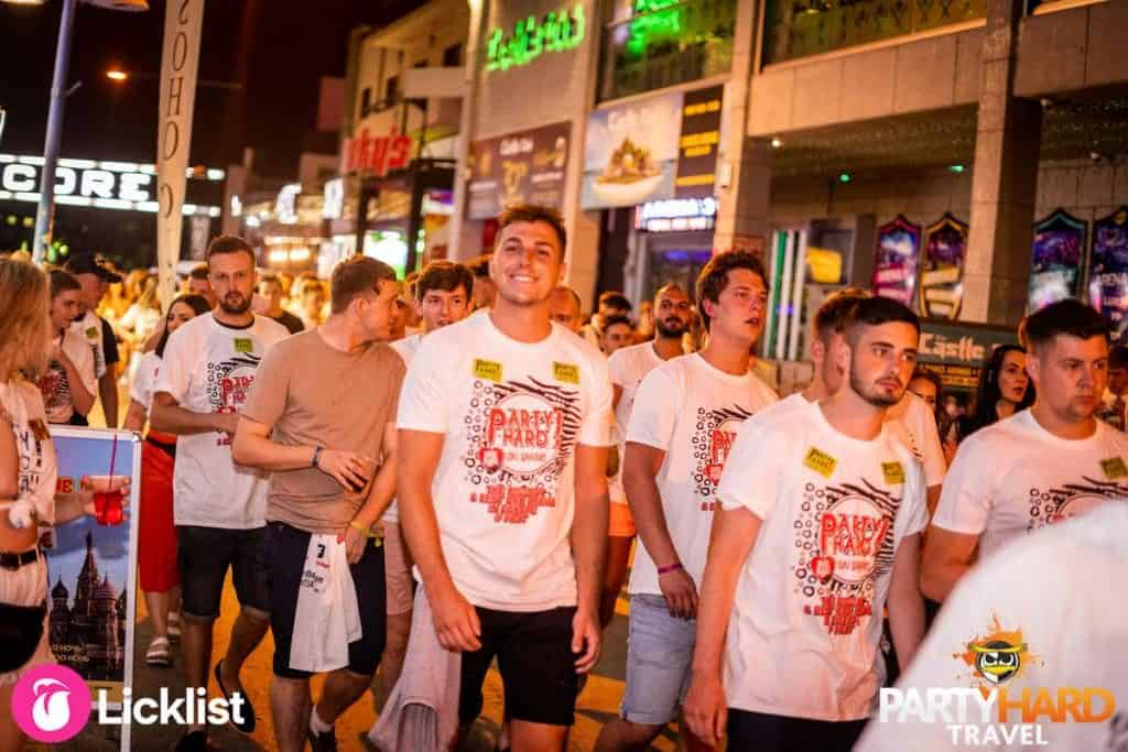 Lads Wearing Party Hard T-Shirts searching for bars, Ayia Napa Nightlife