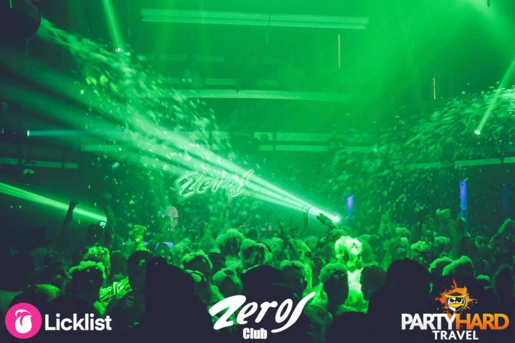 Colourful lighting effects as the foam showers down over clubbers at Zeros Foam Party