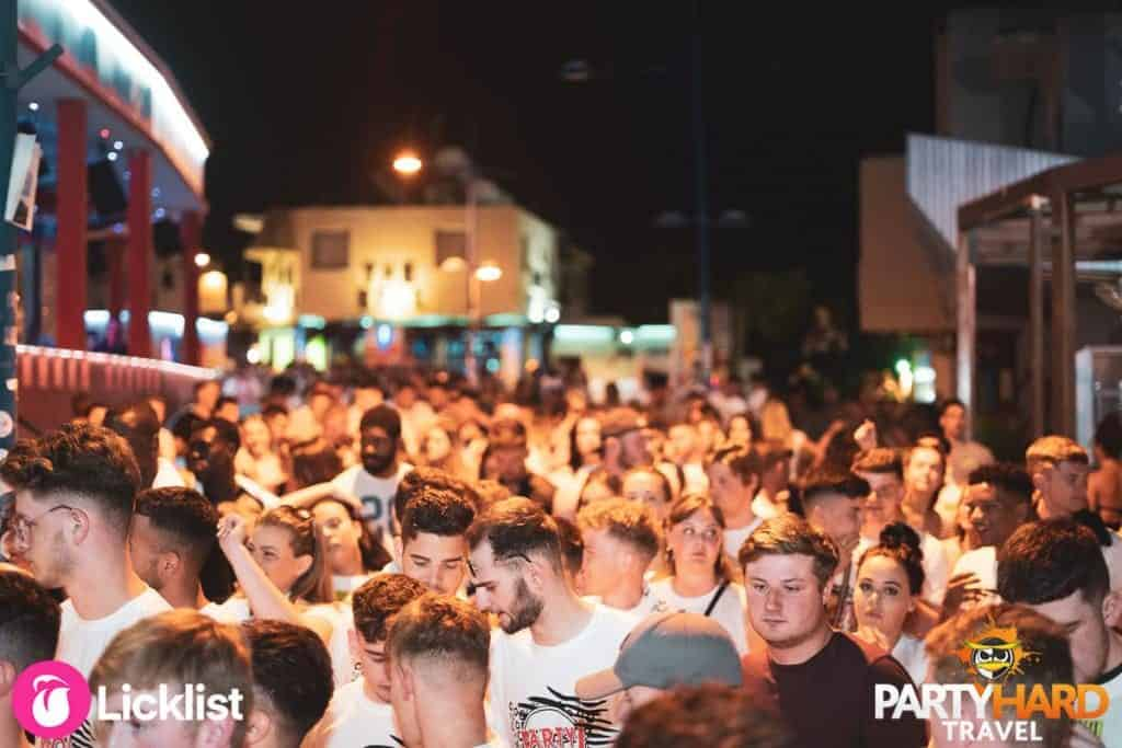 Ayia Napa Party Goers Mingling in the Street queueing for club entry