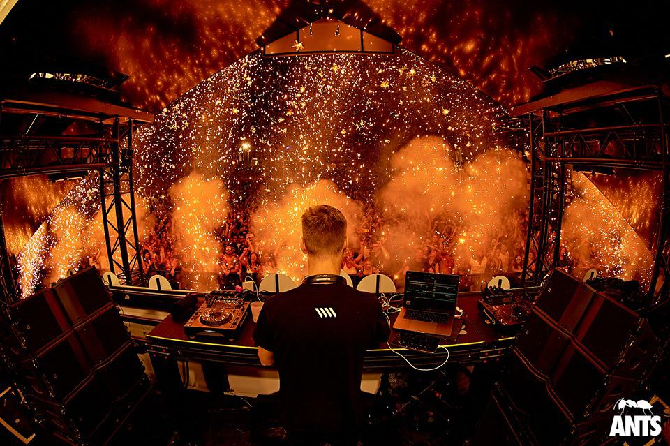 Dj Mar-T at Mixing decks and Pyrotechnic fireworks display at Ants party in Ushuaïa Ibiza