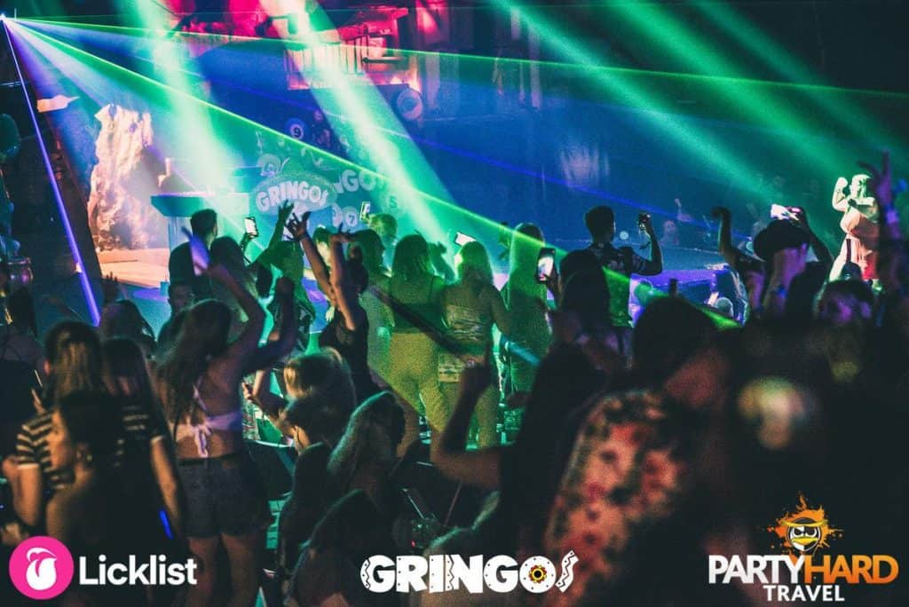 The crazy party night dance floor at Gringos Bingo club with laser lightshow