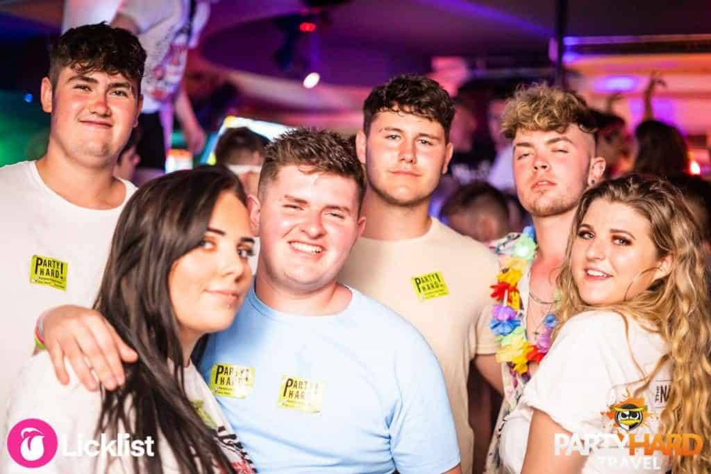 Four lads and Two Girls Enjoying the Party Atmosphere at Ayia Napa Nightclub