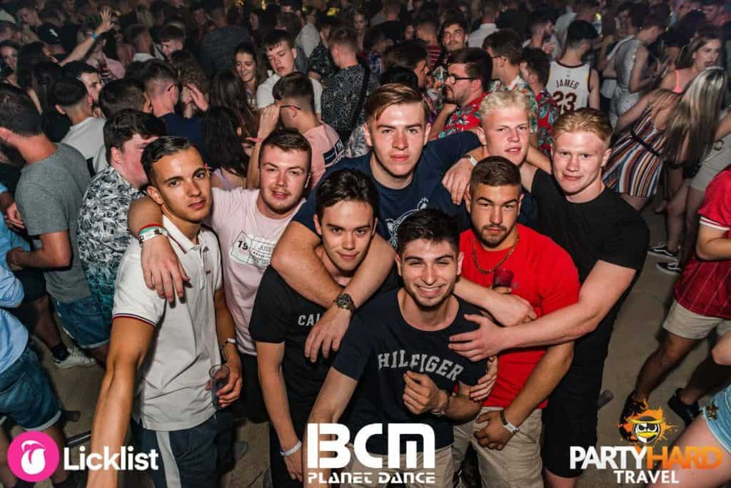 Lads mingling on the Dance floor before the show begins at Magaluf Superclub