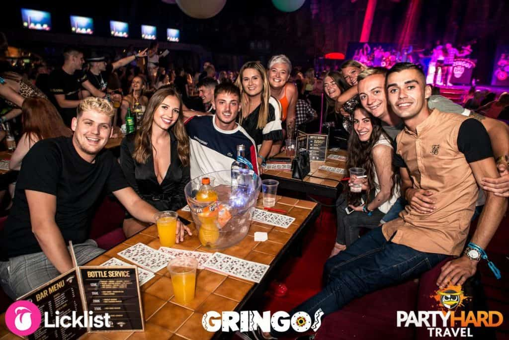 Lads and Girls having fun at the Bingo Tables, ready for a good night to begin at Gringos Party Club