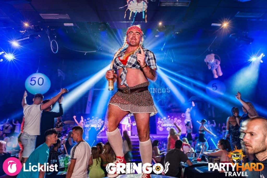 The Party Host at Gringos Club, dressed as a Pirate School girl, in Magaluf, Mallorca