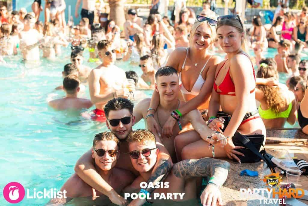Lads With Girls Get Together Photo During the Pool Party Event at Oasis, Malia