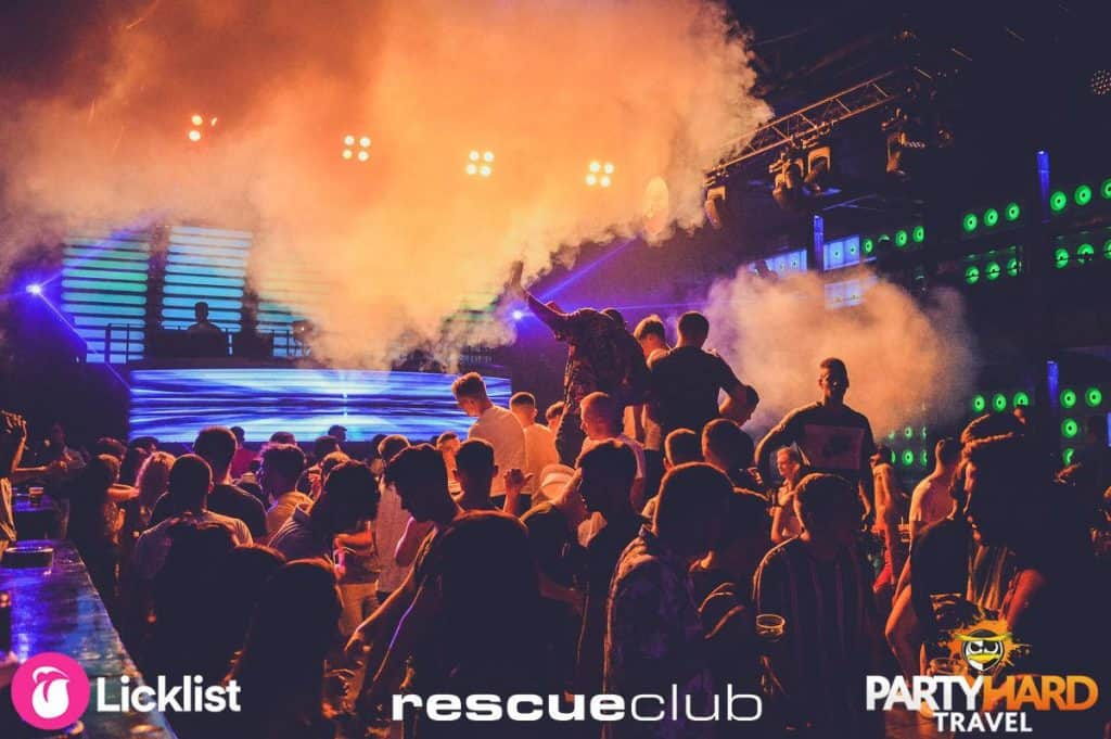 Smoke Cannons fill the air late night at Zante's Rescue Club