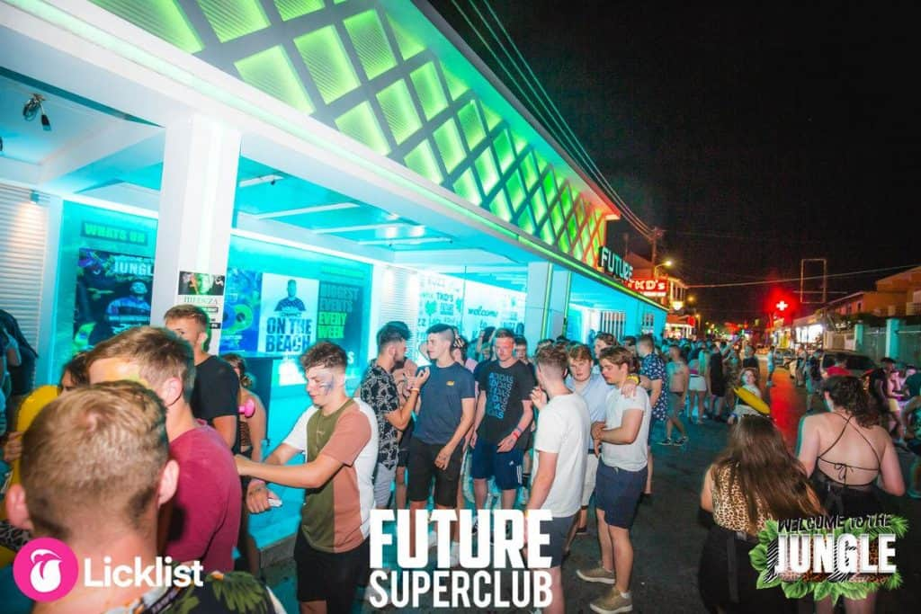 Clubbers Queueing down the Strip late at night to get into The Jungle Theme Event at Future Club