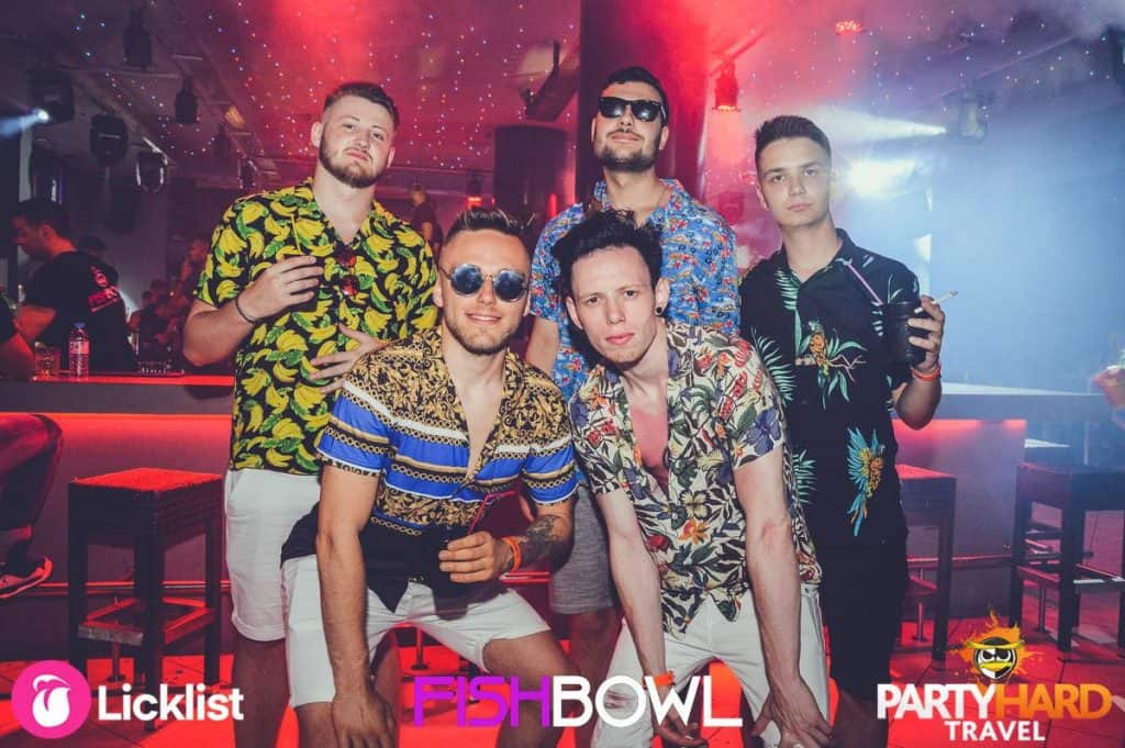 The Cool Crowd, Lads Wearing Hawaiian Shirts, Early Evening at Fishbowl Club