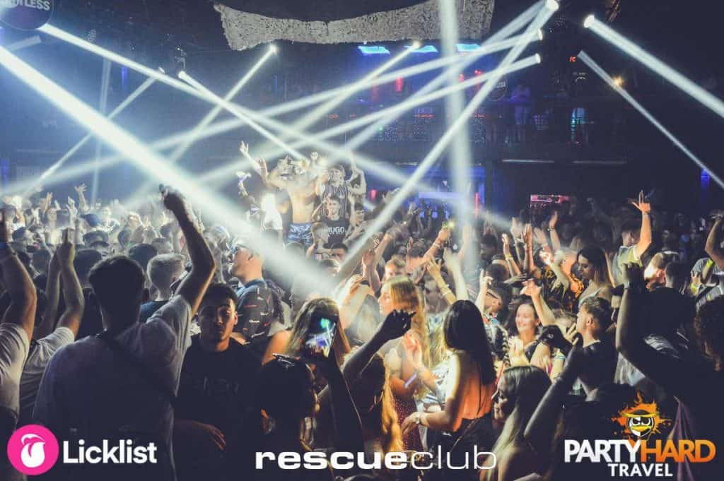 Clubbers Dancing to Banging House Tunes under the Spotlights at Laganas Rescue Club