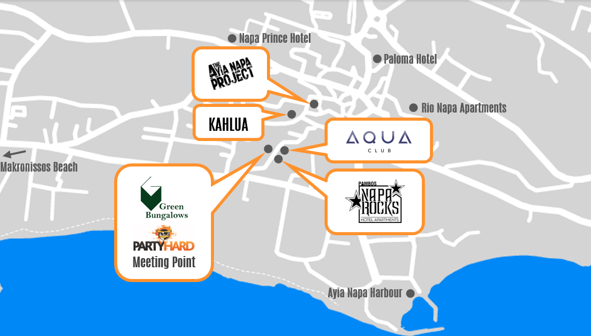 Map of Ayia Napa nightlife clubs