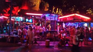 outside of kahlua bar in ayia napa orange and purple neon lights