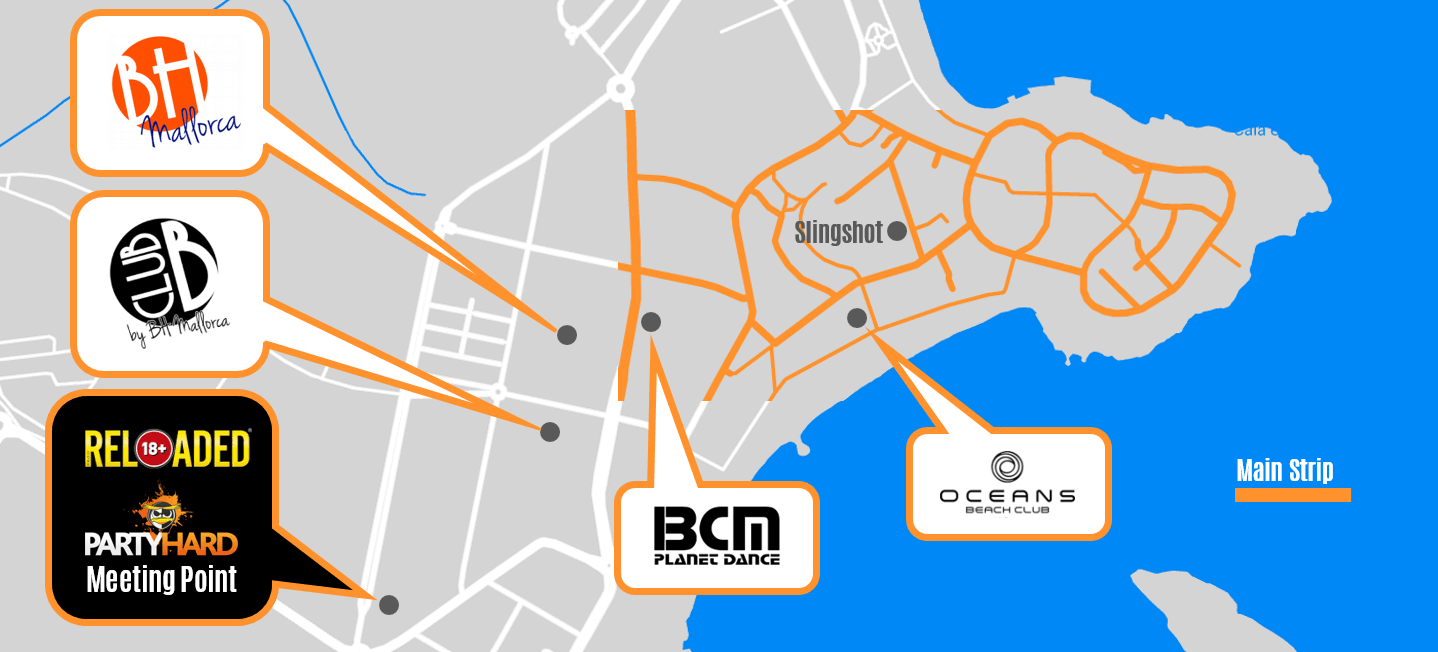 Map of Magaluf nightlife