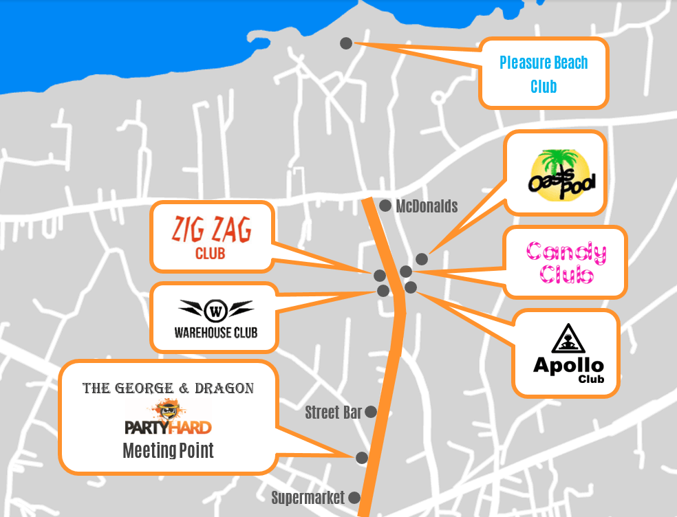 Map of clubs on the Malia strip