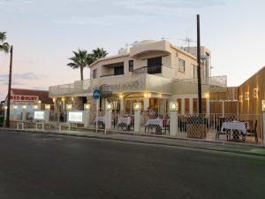 front of red ruby restaurant in ayia napa