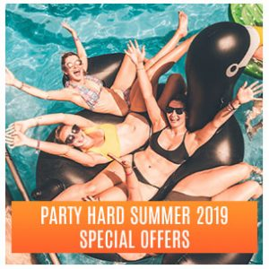 Four girls in swimming pool sunbathing on rubber inflatable duck, Summer 2019 Special Offers button