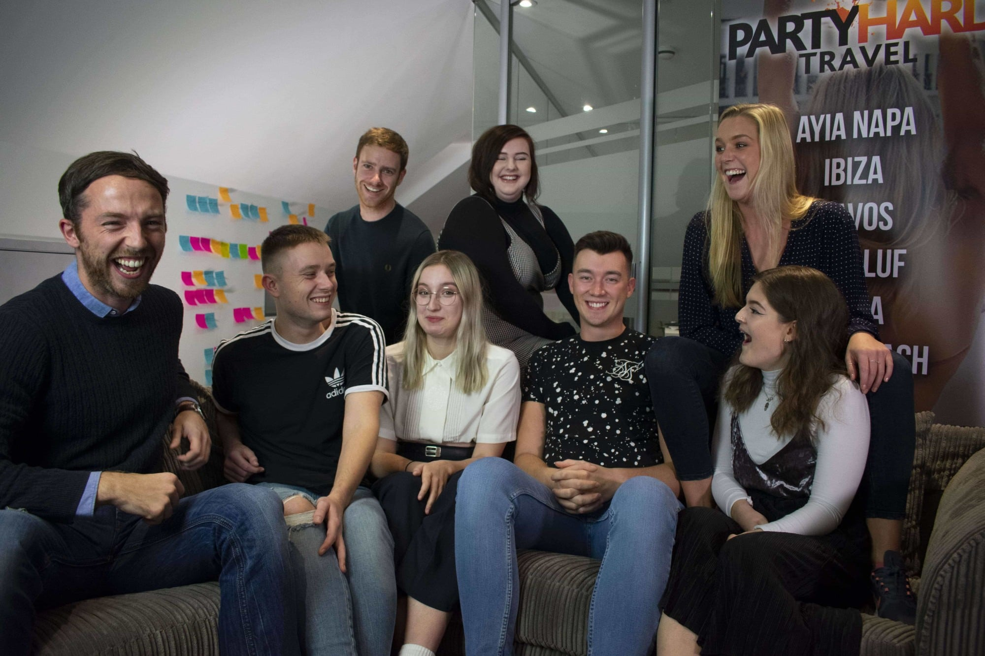 The Party Hard Travel Team, Nathan Cable, Barry Moore, Luke, Sophie, Alex, Mia, Jodie and Lana
