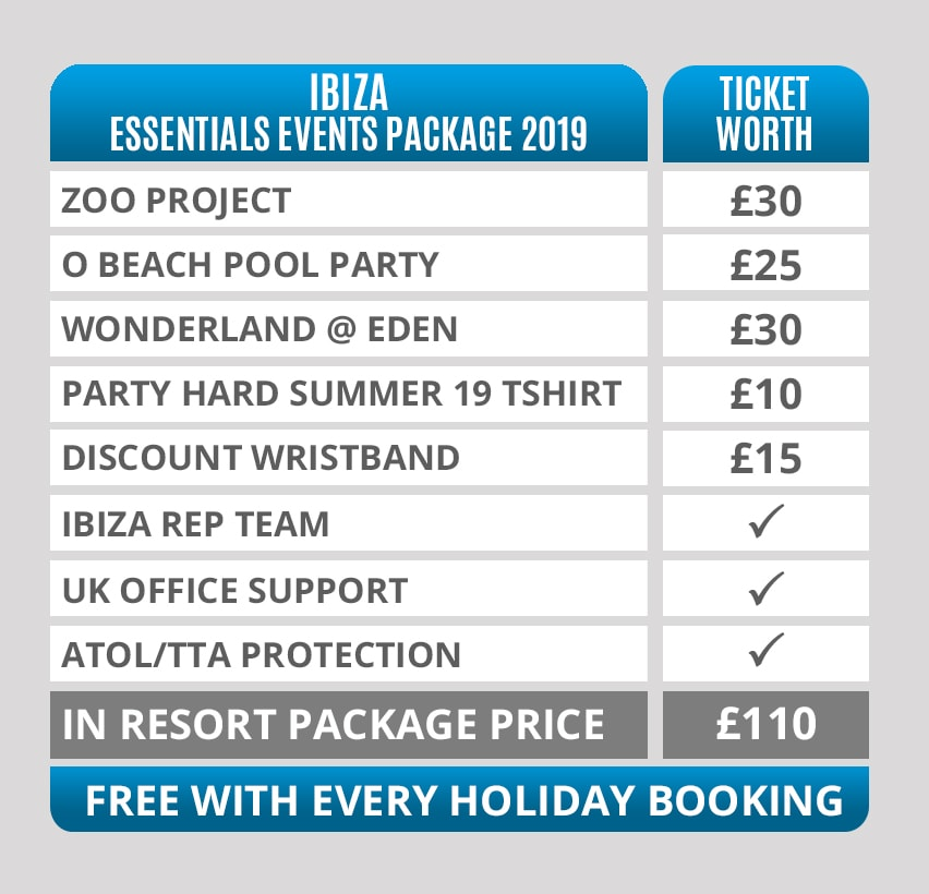 ibiza essentials event package 2019