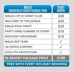 malia party hard essential events package 2019