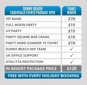 sunny beach essential events package table - worth £120