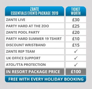 zante party hard essential event package 2019