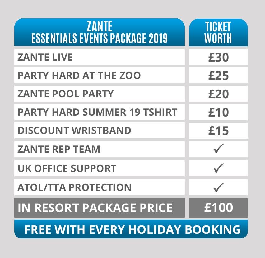 Zante Essentials Events Timetables
