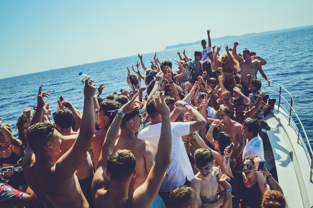 Posing with your friends on the Ayia Napa Fantasy Boat Party