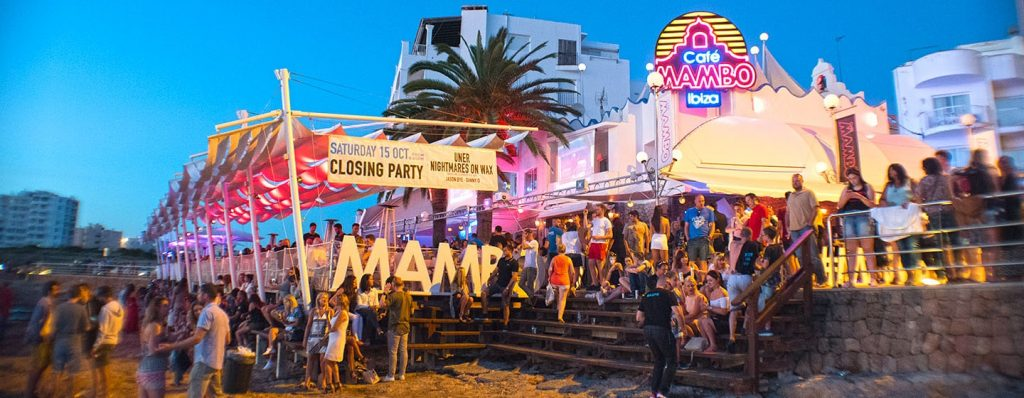 Partying outside onto the beach at Cafe Mambo Ibiza