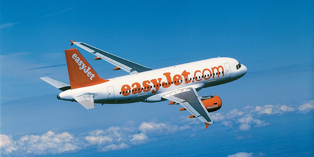 Easyjet Airbus A320 Aircraft in Sky over the Sea