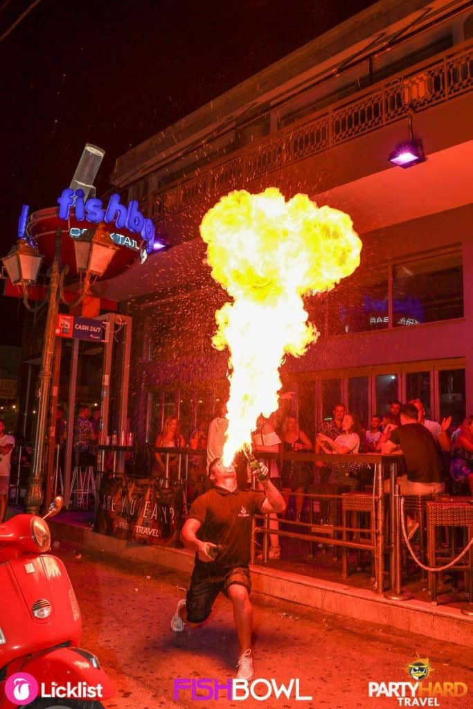 Fire breathing performer outside Fishbowl on the Zante Strip in the resort of Laganas