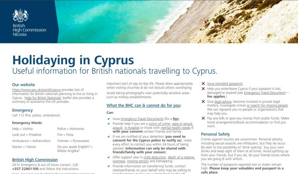 Holidaying in Cyprus leaflet