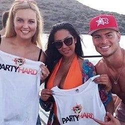 Joel Corry, English DJ and producer with two female Party Harders on Holiday