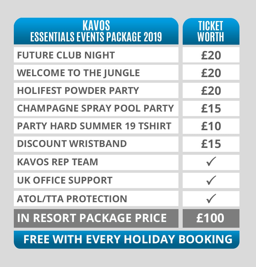 Kavos Essentials Events Packages Pricing Table 2019