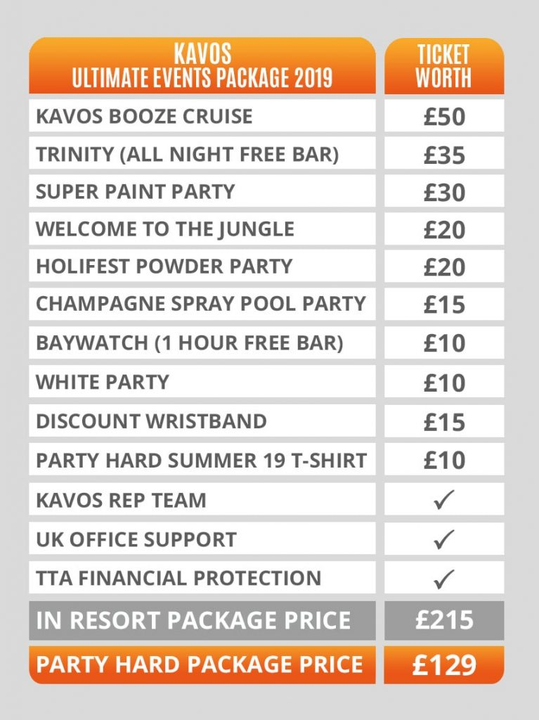 Kavos Ultimate Events Packages Pricing Table 2019
