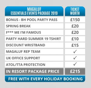 Magaluf Essentials Events Package 2019 Ticket Price Table