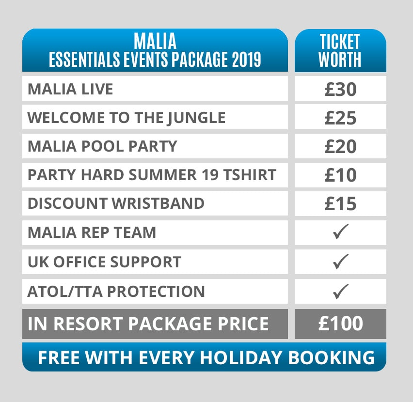 Malia Essentials Events Packages Pricing Table 2019