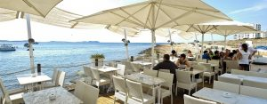 mint lounge overlooking beach in ibiza