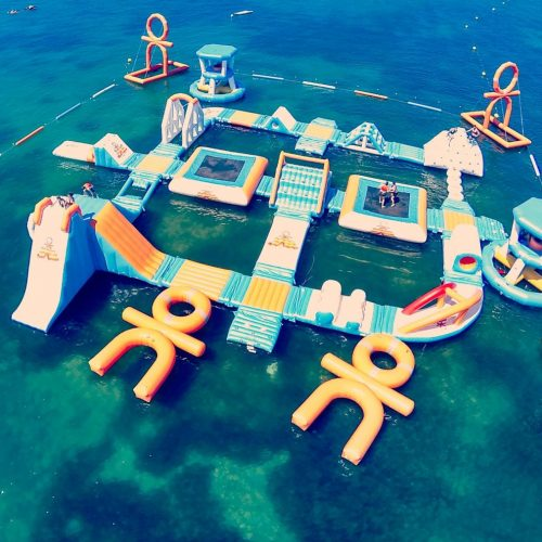 Ocean Mania obstacle course located outside O Beach, Ibiza
